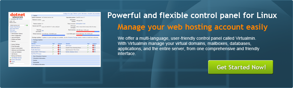 Powerful and flexible Virtualmin control panel for Linux web hosting
