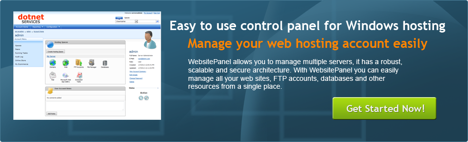 Easy to Use WebsitePanel control panel for Windows web hosting
